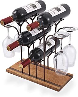 Tabletop Wood Wine Holder, Countertop Wine Rack, Hold 4 Wine Bottles and 4 Glasses,..