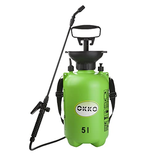 OKKO Pump Action Pressure Sprayer for Use with Water, Fertiliser or Pesticides 5 litre capacity