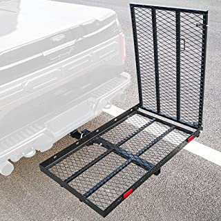 OKLEAD Hitch Mounted Cargo Carrier with Ramp, Steel Folding Cargo Rack, Rear Hitch Tray Luggage Basket, 500 lbs 50