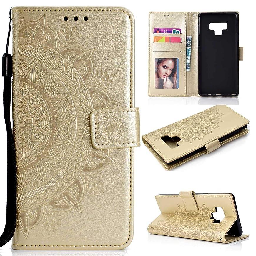 オリエンテーションクッションローブOMATENTI Galaxy Note 9 ケース, 高級感PU財布型 フリップケースー, ド収納ホルダー付き ストラップ付き 落下防止 全面保護 衝撃吸収 保護カバー 押し花柄, 金