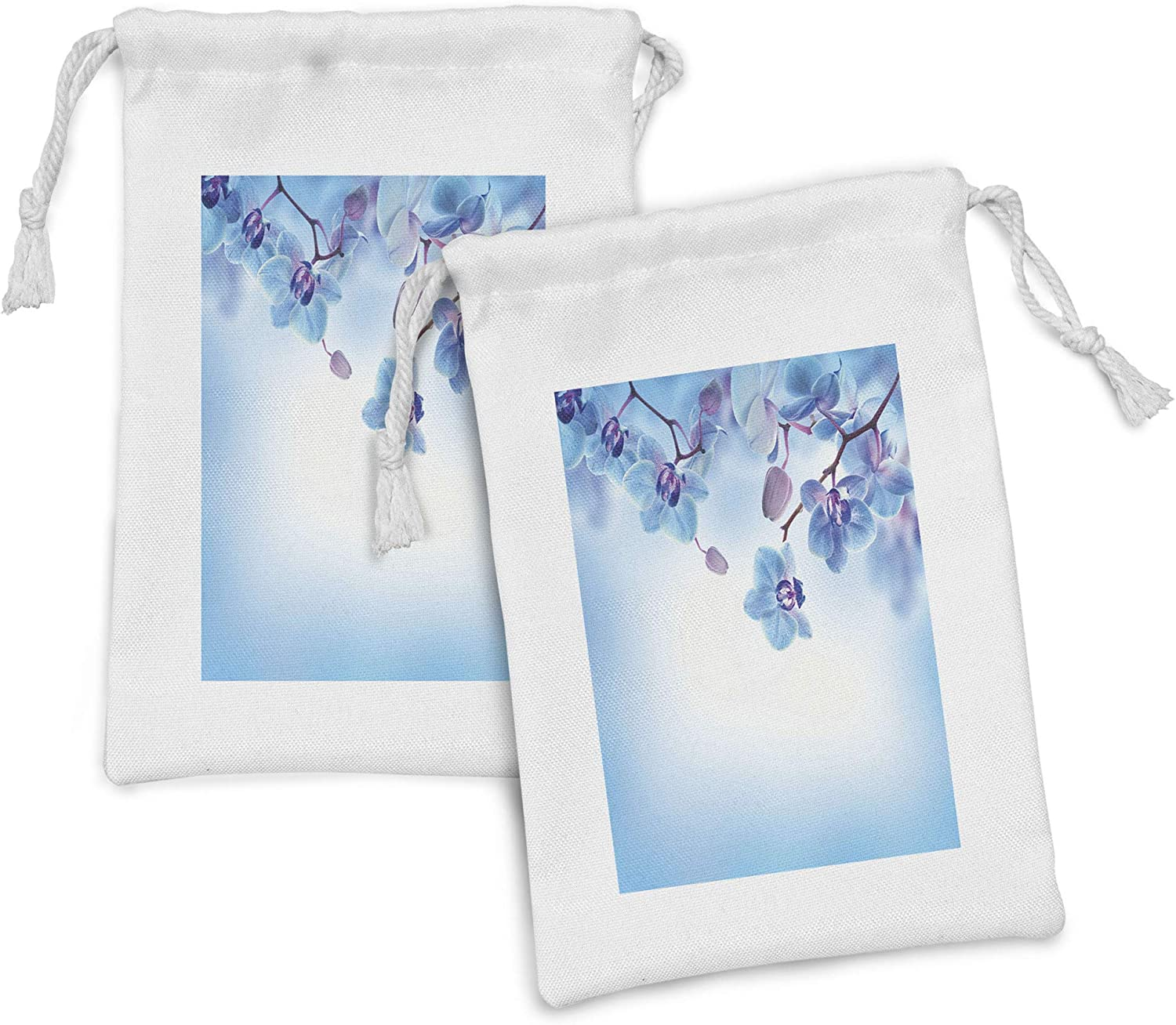 Ambesonne Flower Fabric Pouch Set of unisex Orchids New life Flowers 2 Natural