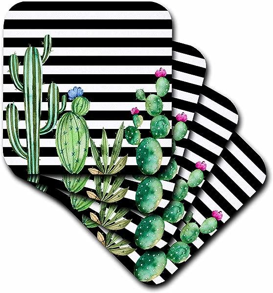 3dRose Cst 263545 3 Black And White Stripes Watercolor Flowering Cactus Set Of 4 Ceramic Tile Coasters