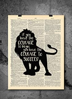 Wizard Of Oz - Cowardly Lion Courage Quote - Vintage Art - Authentic Upcycled Dictionary Art Print - Home or Office Decor - Inspirational And Motivational Quote Art