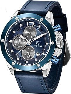 BY BENYAR Montre Homme Militaire Sport Quartz Chronographe Date Etanche Analogique Montres Bracelet pour Homme Grand Cadra...