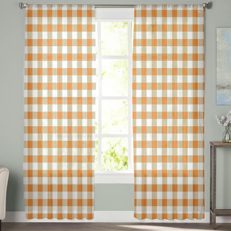 Tulsa Mall 2 Panels Semi Translated Sheer Voile Chiffon Bedroom for O Window Curtains