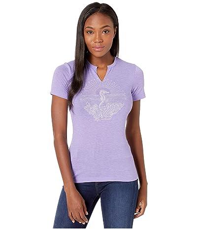 Life is Good Illuminated Seahorse Favorite Split-Neck Tee (Moonstone Purple) Women