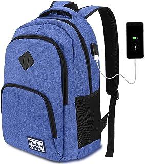 YAMTION 15.6 Zoll Laptop Rucksack Schulrucksack Jungen Teenager Arbeit Rucksack Z6-Blau, 15.6 Zoll