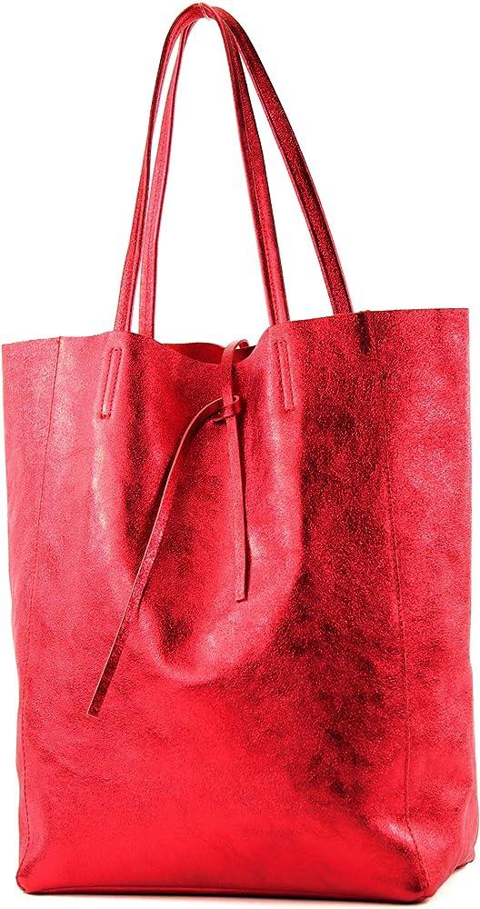 Modamoda de, borsa in pelle, shopper per donna a spalla, red metallic T163R-MET3_afn
