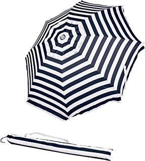 AmazonBasics Beach Sun Umbrella, Navy Blue Striped