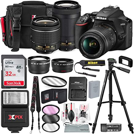 $569 Get Nikon D3500 DSLR Camera with 18-55mm and 70-300mm Lenses + 32GB Card, Tripod, Flash, and Bundle