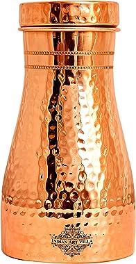Indian Art Villa Pure Copper Hammered Shine Design Bedroom Water Bottle with Inbuilt Glass, Drinkware & Storage Purpose,