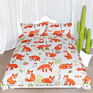 ARIGHTEX Woodland Fox Bedding Cartoon Forest Fruits Duvet Cover Romantic Orange Foxes Comforter Set Kids Nature Duvet Cover (Twin)