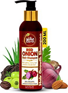 The Indie Earth Red Onion Shampoo with Caffeine Curry Leaf and Indian Alkanet Root Controlling Hair Fall Splitends and Dan...