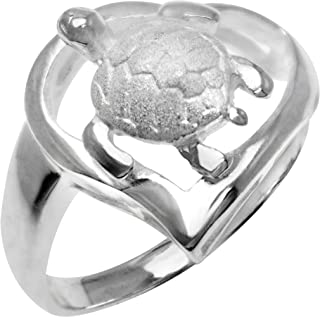 Honolulu Jewelry Company Sterling Silver Turtle Heart Ring