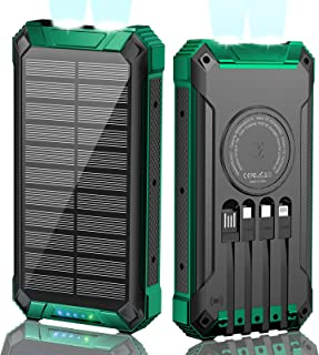 Solar Power Bank 36000mAh, Qi Wireless Charger, Solar Charger,Fast Charger for Cell Phone,Outdoor Portable Solar Power Ban...
