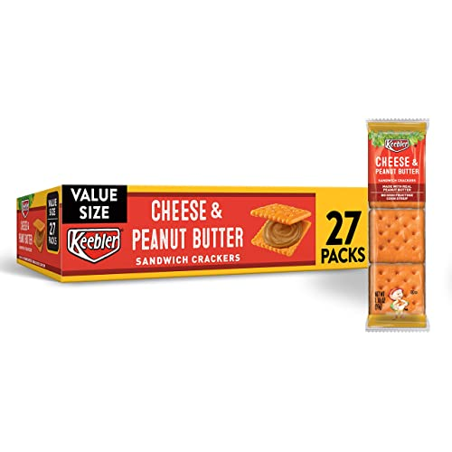 Keebler Cheese and Peanut Butter Sandwich Crackers - Convenient School Lunch Snacks, Single Serve 1.38 oz Bags (27 Count)
