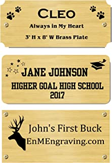 """3"""" H x 8"""" W, Solid Brass Satin Name Plates, Personalized Custom Laser Engraved Nameplate Label Art Tag for Frames Notched Square or Round Corners, Made to Order, Made in USA"""