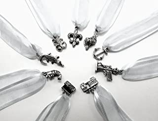 New Orleans Themed Cake Pull Charms - Silver Ribbon - Set of Nine (9)