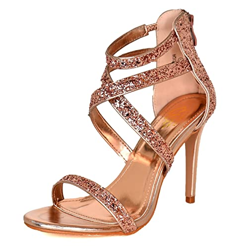 ROSE GOLD GLITTER LOW HEELED ANKLE PEEP TOES HIGH HEELS STRAPPY SANDALS SIZE 3-8