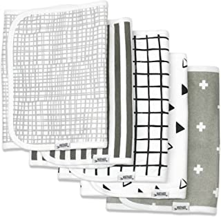 """Burp Cloths for Boys & Girls by Matimati Baby, Extra Large 21""""x10"""" & Super Absorbent Burp Cloth Set of 5, Keep Baby's & Parent's Clothes Dry, Excellent Gift """"Monochrome"""