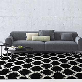 iCustomRug Soft and Plush Trellis Frise Shag Area Rug for Contemporary Interior 5'x7' in Black