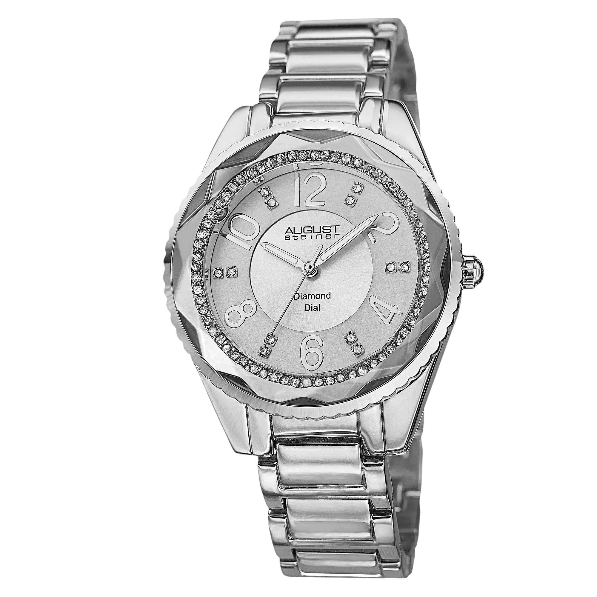 Women's Diamond Watch - 12 Genuine Diamond and Arabic Numeral Hour Markers On A Bracelet Watch - AS8122