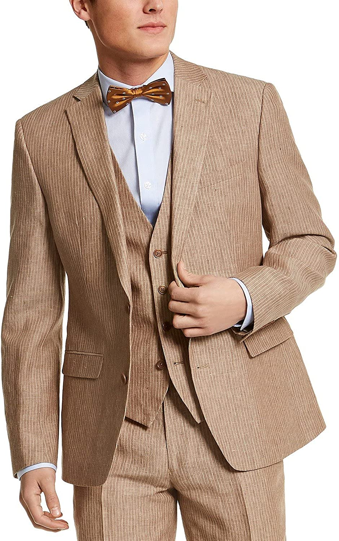 bar III Mens Linen Pinstripe Two-Button Blazer