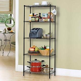 5-Tier Wire Shelving bathroom storage 5 Shelves Unit Metal kitchen Storage Rack,Black (60 * 32 * 150CM)