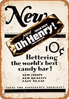 Treasun Metal Sign - Vintage Look 1927 Oh Henry Candy Bar 8 x 12 Inches