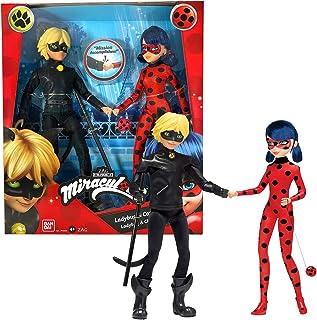 Bandai- Miraculous Pack de 2 Poupées Mannequin 26 cm-Ladybug et Chat Noir, P50365