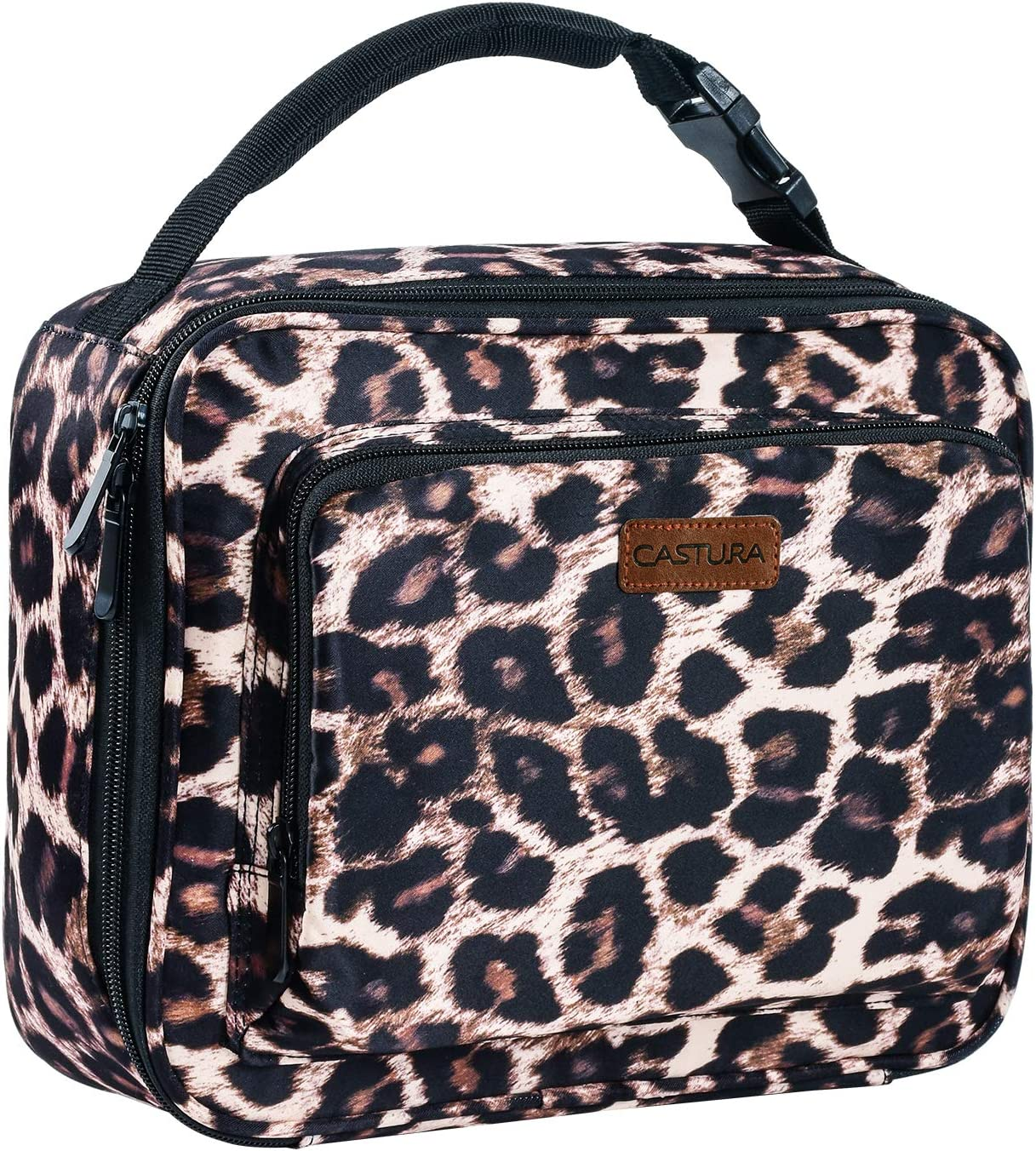Womens Lunch Box,Insulated Lunch Bag Buckle Handle Lunch Tote Leopard
