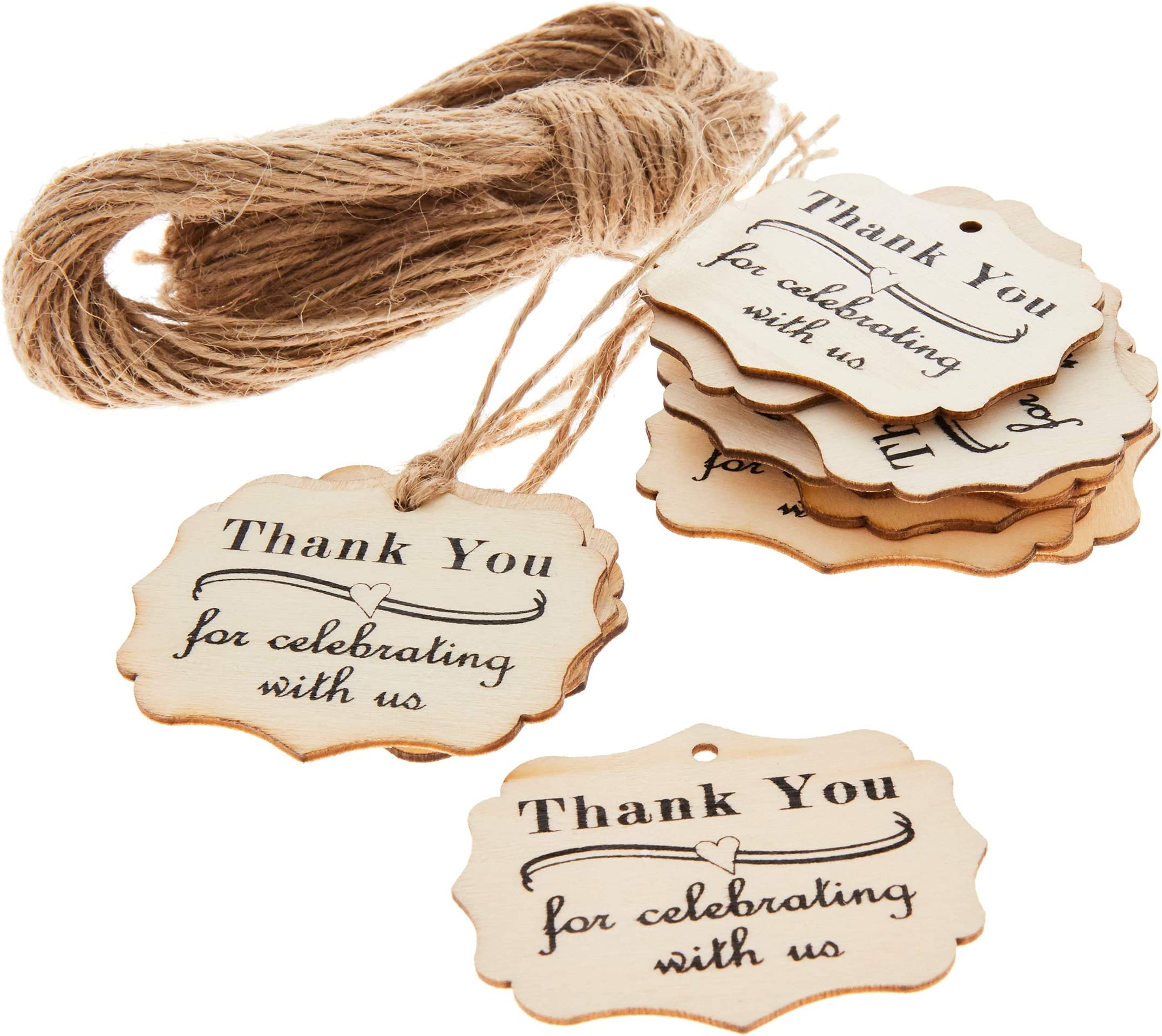 Thank You Party Tags RR-009 Personalized Thank You Wedding Favor Hang Tags Calligraphy Font Tags