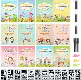 12 Pieces Magic Practice Copybook for Kids The Print Handwiriting Workbook Reusable Writing Practice Book Magic Calligraph...