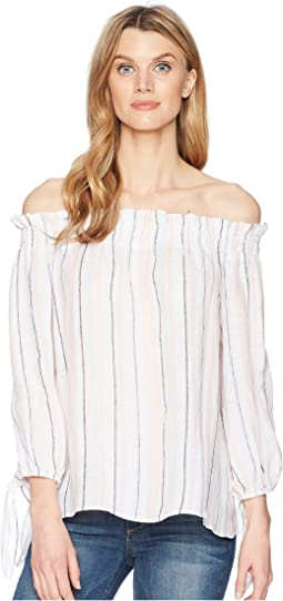 Long Sleeve Off Shoulder Seashore Stripe Linen Blouse