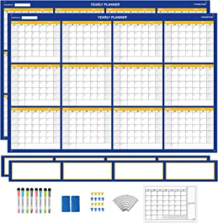 $35 » YOUNGTION Jumbo Dry Erase Calendar, Laminated 36 x 48 Inches Undated Yearly Wall Planner, Premium PET Film With Extra Note...