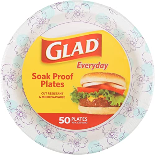 Glad Round Disposable Paper Plates for All Occasions | New & Improved Quality | Soak Proof, Cut Proof, Microwaveable ...