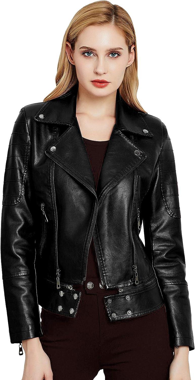 Jhichic Women's Asymmetric Zip PU Jacket Faux Leather Biker Coats Motorcycle