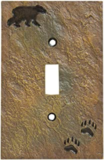 Demdaco Bear and Tracks Rustic Hand-Cast Single Switch Plate Cover