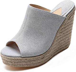 380-2 Slip-on Wedge Sandal Peep Toe Espadrille Platform Wedges
