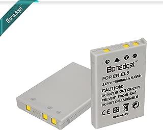 Bonadget EN-EL5 Battery Set, 1500mAh 2-Pack Replacement Battery Compatible with Nikon CoolPix 3700 4200 5200 5900 7900 P3 P4 P80 P90 P100 P500 P510 P520 P530 P5000 P5100 P6000 S10