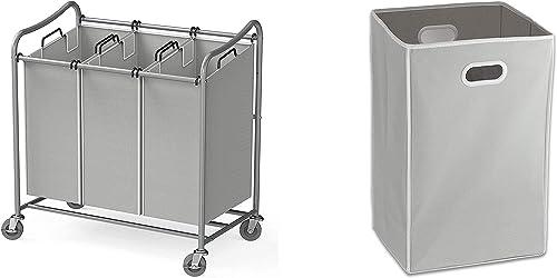 discount Simple Houseware Heavy-Duty 3-Bag Laundry Sorter Cart + Foldable Closet wholesale Laundry Hamper lowest Basket outlet online sale