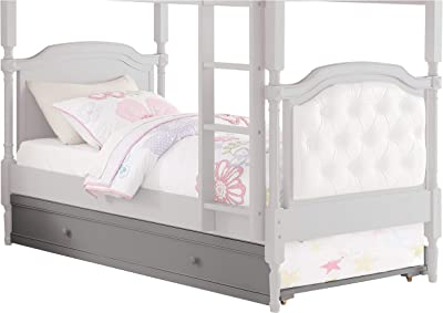 Benjara Transitional Wooden Twin Size Trundle with Caster Wheels, Gray