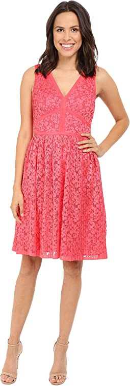Pleat Floral Lace Fit and Flare
