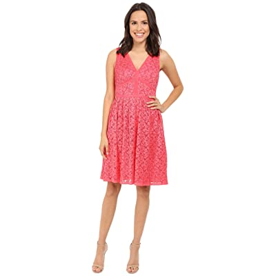 Maggy London Pleat Floral Lace Fit and Flare (Tulip Red) Women