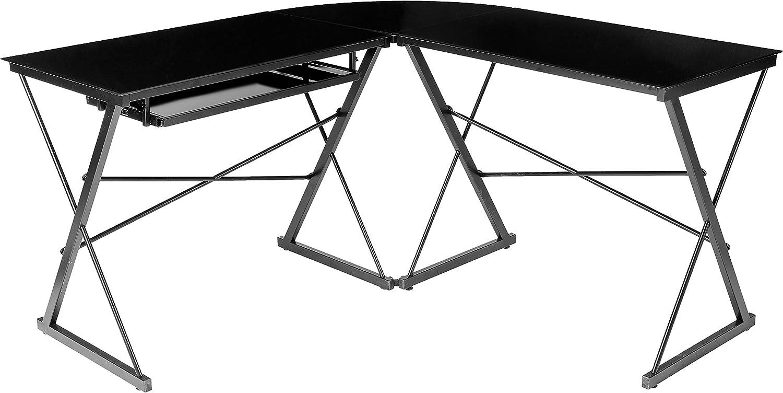 AmazonBasics Three Piece Glass Desk Black with Black Glass