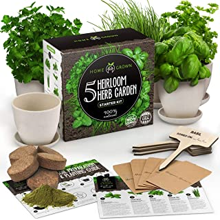 Indoor Herb Garden Starter Kit - Herb Seeds Gardening Kit Planting Pots & Potting Soil - Heirloom & Non GMO - DIY Home See...