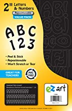 EZ Art Peel-and-Stick Letters and Numbers Bulk Value Pack for Signs and Presentations, 2-Inch Tall Repositionable Characters, Black, 395 Pieces (5508)