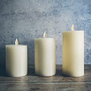 "Flameless Candles Battery Operated | LED Candles with Remote Control and Timer, Decorative Real Wax Electric Pillar Candle Ivory Color with Flat Top, Set of 3-4"" 5"" 6"" with Flickering Flame"