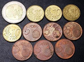 Lot of 11 Greece Euro Coins - Dates: 2002-2004 - 5, 10 Cents, 2 Euros