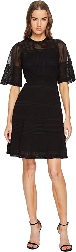 Rib Stitch Dress with Sheer Detail